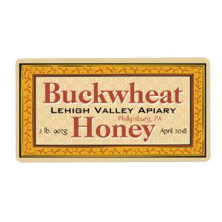 Tarro de la miel del alforfón modificado para etiquetas de envío