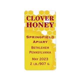 Tarro de la miel del panal del trébol etiquetas de dirección