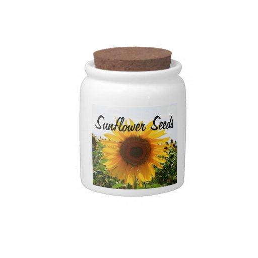 Tarro de la semilla de girasol jarra para caramelo