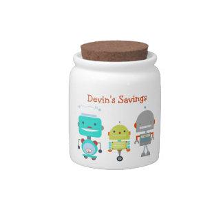 Tarro de los ahorros del niño del tema del robot jarras para caramelos