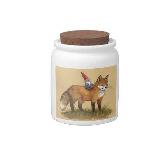Tarro de los gnomos con el Fox y el conejo Jarras Para Caramelos