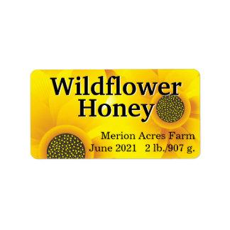 Tarro de oro de la miel del Wildflower Etiquetas De Dirección