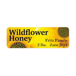 Tarro de oro de la miel del Wildflower Etiqueta De Remite