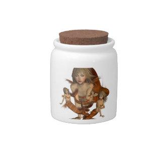 Tarro de oro del caramelo de las sirenas jarras para caramelos
