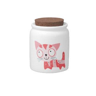tarro del bote del gato jarras para caramelos