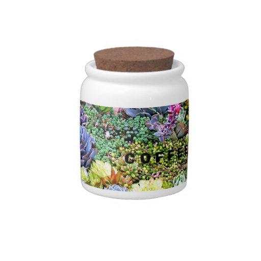 Tarro del café del jardín del cactus platos para caramelos