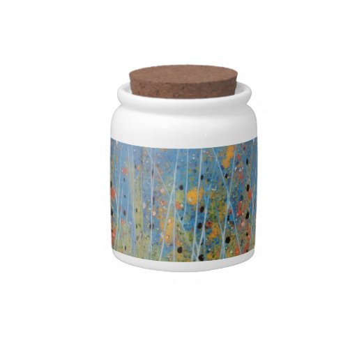 Tarro del caramelo con las ilustraciones pintadas  plato para caramelo