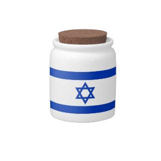 Tarro del caramelo de la bandera de Israelian Jarras Para Caramelos