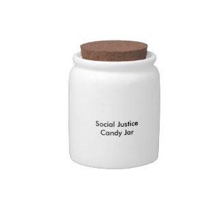 Tarro del caramelo de la justicia social plato para caramelo