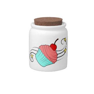 Tarro del caramelo de la magdalena de la cereza tarro de cerámica para dulces