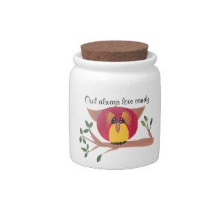Tarro del caramelo de la porcelana del búho jarras para caramelos