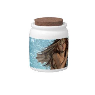 Tarro del caramelo de la sirena de la natación jarra para caramelo