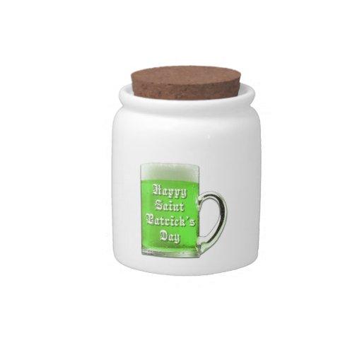 Tarro del caramelo de la taza de cerveza del verde jarra para caramelo