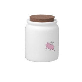 Tarro del caramelo de los cerdos del vuelo plato para caramelo