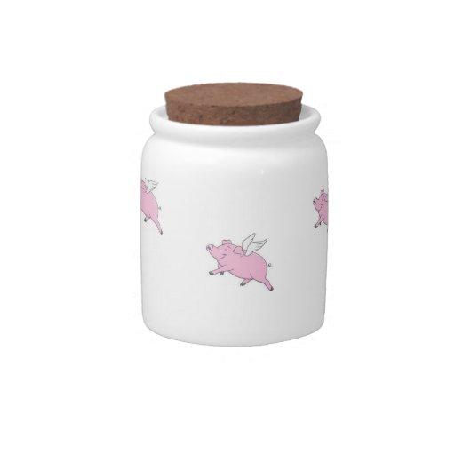 Tarro del caramelo de los cerdos del vuelo platos para caramelos