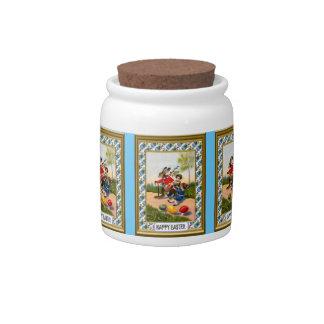 Tarro del caramelo de Pascua, en el camino Tarro De Cerámica Para Dulces