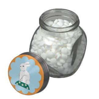 Tarro del caramelo del conejito de pascua jarrones cristal