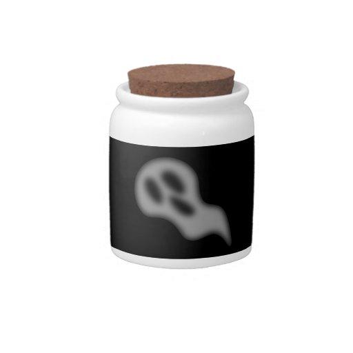 Tarro del caramelo del fantasma de Halloween Platos Para Caramelos