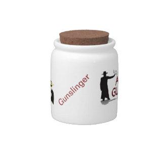 Tarro del caramelo del logotipo del club con los p jarra para caramelo