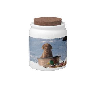Tarro del caramelo del perrito del labrador retrie jarra para caramelo