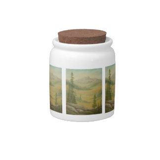 Tarro del caramelo del prado de la alta montaña jarra para caramelo