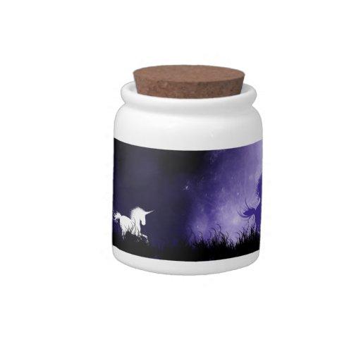 Tarro del caramelo del unicornio jarras para caramelos