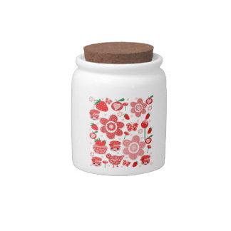 Tarro del caramelo, placa, taza, fresas jarra para caramelo