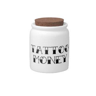 Tarro del dinero del tatuaje jarra para caramelo