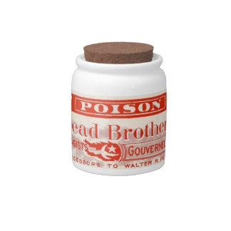 Tarro del veneno con la etiqueta de los hermanos d jarras para caramelos