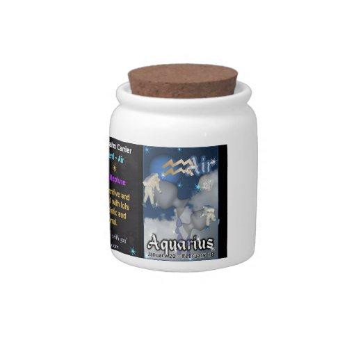 Tarro del zodiaco del acuario con la tapa del corc jarra para caramelo