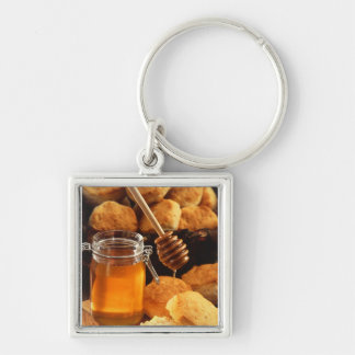 Tarro delicioso de la miel llavero cuadrado plateado