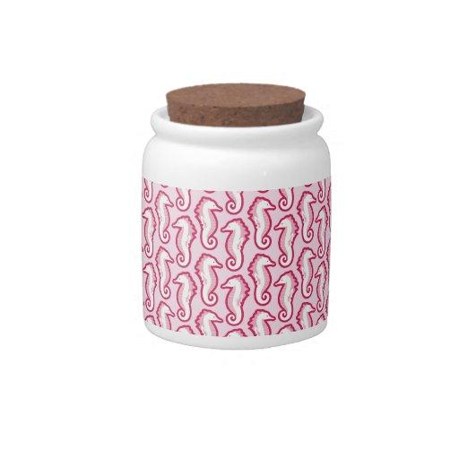Tarro divertido del caramelo del Seahorse - rosa Platos Para Caramelos