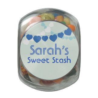 Tarro dulce azul del caramelo del escondite jarrones de cristal