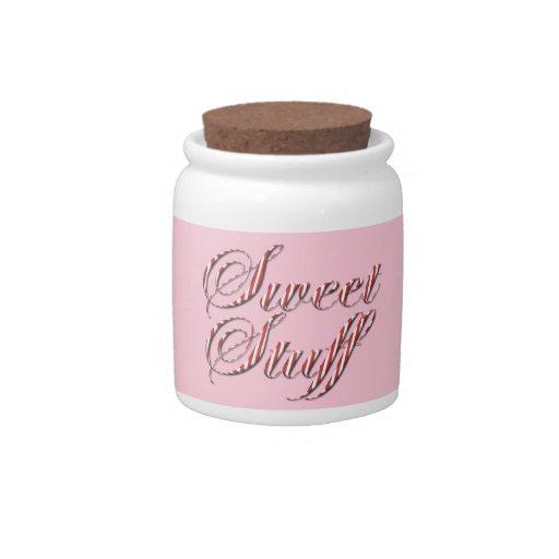 Tarro dulce del caramelo de la raya del bastón de  jarra para caramelo