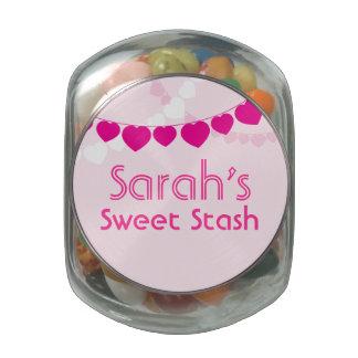 Tarro dulce rosado del caramelo del escondite frascos de cristal jelly belly
