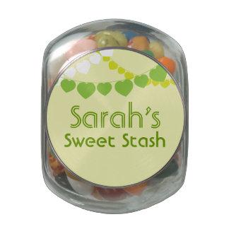 Tarro dulce verde del caramelo del escondite frascos de cristal jelly belly