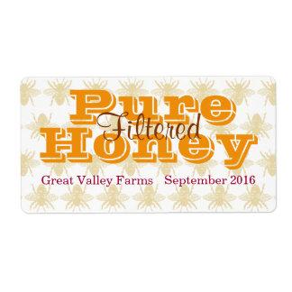 Tarro filtrado abeja reina de la miel etiquetas de envío