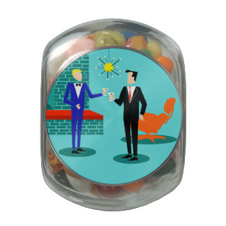 Tarro gay moderno del caramelo de los pares de los frascos de cristal jelly belly