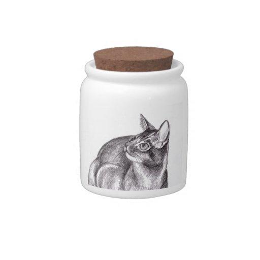 Tarro gris de la invitación del gato del gato plato para caramelo