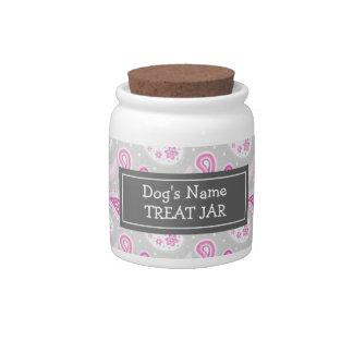 Tarro gris rosado de la invitación del perro del m platos para caramelos