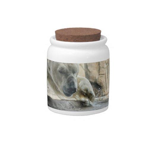 Tarro juguetón del caramelo del oso polar plato para caramelo