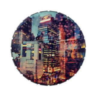 Tarro lluvioso del caramelo de NYC Jarrones De Dulces