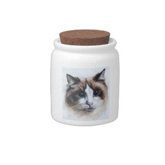 Tarro mullido de la invitación del gato del gato jarras para caramelos