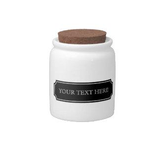 Tarro negro pasado de moda del boticario de la eti jarra para caramelo