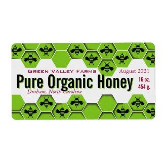 Tarro orgánico puro de la miel personalizado etiqueta de envío