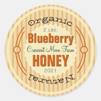 Tarro personalizado arándano orgánico de la miel pegatina redonda
