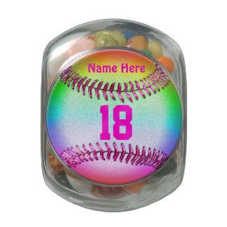Tarro personalizado del caramelo del softball con frascos de cristal