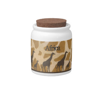 Tarro personalizado familia de la jirafa jarra para caramelo