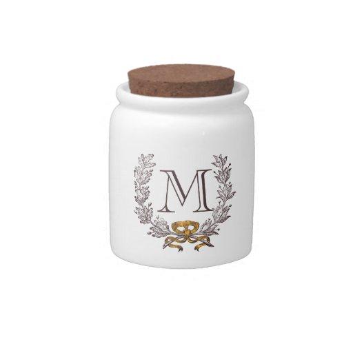 Tarro personalizado guirnalda de la inicial del mo tarro de cerámica para dulces