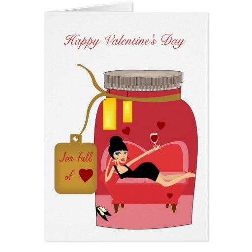 Tarro por completo de amor tarjeta pequeña